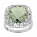 Green Amethyst and Filagree Trinity Ring 1167