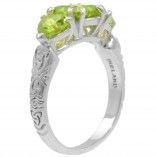 3 stone peridot trinity ring, side view