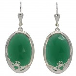 8760 Faceted Green Onyx Claddagh Earrings