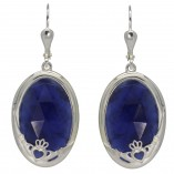 8760 Faceted Sodalite Claddagh Earrings