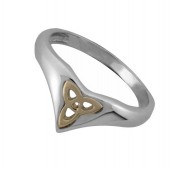 Silver and 14ct Gold Trinity Ring - 1125