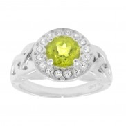 Peridot and CZ Halo trinity knot ring 1163