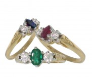 Trinity Gemstone Ring with Diamonds - 118