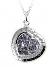 Sterling Silver Drusy Heart Pendant - 2132