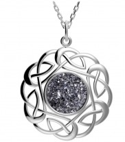 Sterling Silver Round Celtic Knot Drusy Pendant - 2134