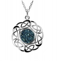 Sterling Silver Drusy Celtic Knot Pendant - 2140
