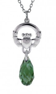 Claddagh Dangle Swarovski Briolette Pendant    2154