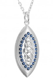 Silver marquise Celtic Pendant with crystals - 2167