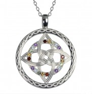 Silver multi stone colours of Ireland pendant - 2187