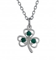 Shamrock pendant with green agate - 2219