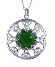 Trinity Knot and Malachite Sterling Silver Pendant  2226