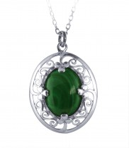 Malachite Stone Celtic Pendant - 2227