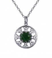 Malachite Stone Celtic Pendant - 2229
