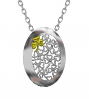 Oval Shamrock Pendant with Goldplate accent 12240