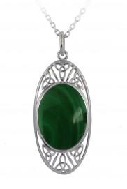 Oval Malachite or Black Onyx Celtic Pendant - 2268