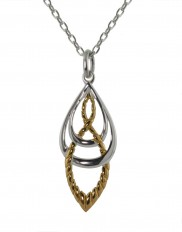 Two Tone Rope Effect Silver Pendant - 2270