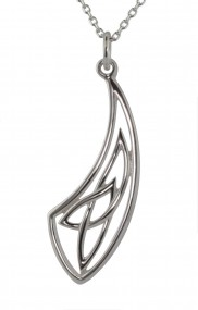 Sterling Silver Celtic Knot Curved Pendant 2273