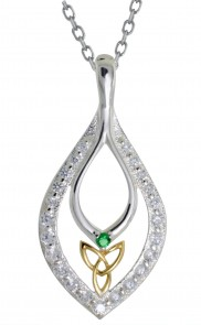 Trinity Knot Drop Pendant with Sparkling CZ - 2292