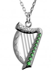 Harp Pendant with Choice of Green or White Stones - 2293