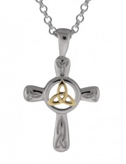 6013 Two tone Sterling Silver Trinity Knot Cross