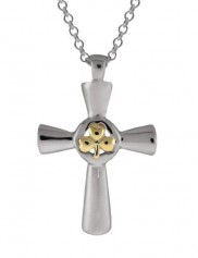 Two tone Sterling Silver Shamrock Cross - 6014