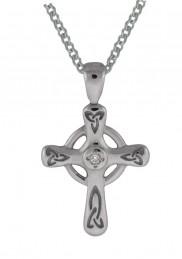 6016 Irish High Cross with green agate or diamond
