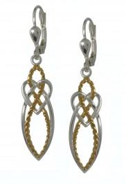 7015 Silver two tone rope effect earrings