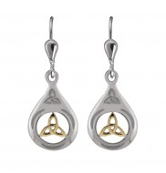 7024 Sterling Silver and goldtone trinity knot earrings