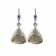 7047 Silver two tone trinity earrings