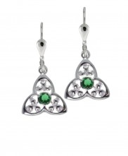 Silver Trinity and shamrock earrings with Green CZ - 7053