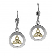 7076 Sterling Silver and gold plate Celtic Knot Earrings