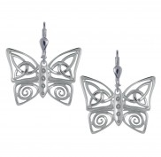 7124 Trinity and Spiral Butterfly Drop Earrings
