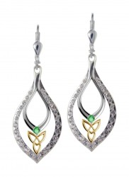 7150 Trinity Knot Drop Earrings with Sparkling CZs