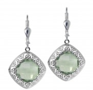 Green Amethyst Trinity Knot Earrings 7172