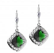 7178 Cable Weave Blue or Green Quartz Doublet Drop earrings