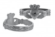 Ladies Claddagh Ring with Celtic Weave Band - 8127