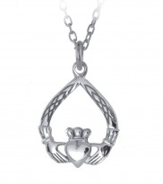 Celtic Weave Tear Shape Claddagh pendant- 8229