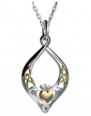 Claddagh Silver Pendant with Rose and Yellow Accent - 8255