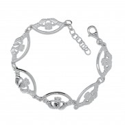 Claddagh Sterling Silver Bracelet 6 piece with extender  8407