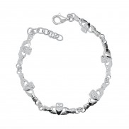 Claddagh Sterling Silver Bracelet 6 piece with extender  8424