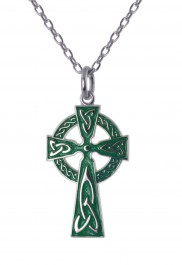 8621 Traditional Irish High Cross with Green Enamel