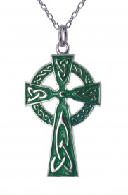 8622 Traditional Irish High Cross with Green Enamel