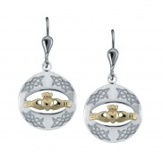 8725 Claddagh Silver Goldplate Drop Earrings