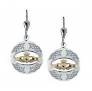 8725 Claddagh Silver Goldplate Drop Earrings