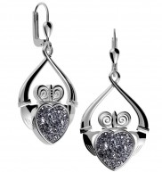 8728 Claddagh Drusy Drop Earrings