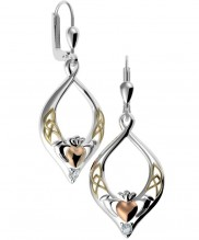 8729 Claddagh Silver Earrings with Rose and Yellow Goldplate