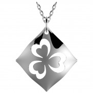 Highly Polished Silver Shamrock cut out pendant - 2505