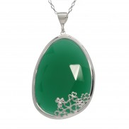 Shamrock Pendant Choose Green Onyx or Sodalite - 2548