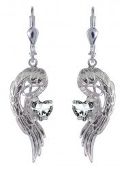 Angel Wings of Love earrings with CZs 7121