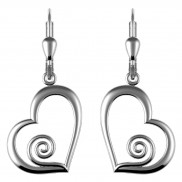 7182 Heart drop earrings with spiral detail